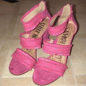 Funky Pink Heeled Sandals, EUC, 8.5